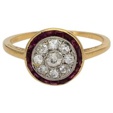 Antique Victorian target ring diamond calibrated rubies 18 k yellow gold circa 1900 s
