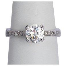 1.25 cwt brilliant cut diamond F Color engagement ring / anniversary ring 18 karat white gold