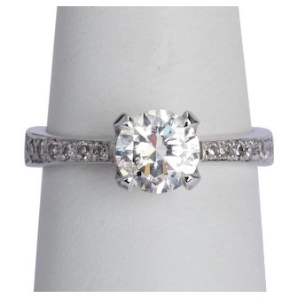 1.25 cwt brilliant cut diamond F Color engagement ring / anniversary ring 18 karat white gold