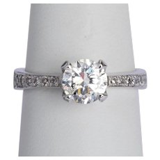 1.25 cwt diamond F Color engagement ring / anniversary ring 18 karat white gold