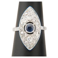 Diamond and Sapphire ring 18 karat white gold Art Deco circa 1930