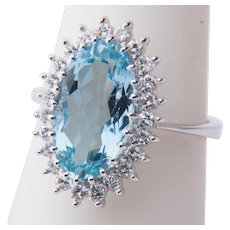 Aquamarine Diamond ring circa 1970 white gold 18 karat