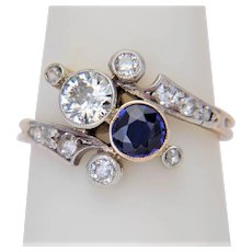"Art Nouveau ""you and me"" engagement ring Sapphire Diamonds circa 1890"