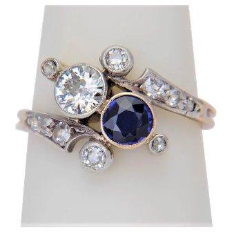 "Art Nouveau ""you and me"" engagement ring Sapphire Diamonds circa 1890"