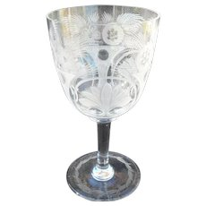 Glass Goblet Etched Stylized Flower and Fern