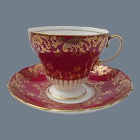 Vintage EB Foley Corset Shape Gold on Burgundy Teacup and Saucer