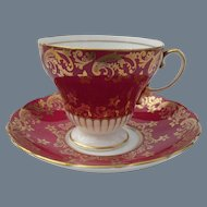 Vintage EB Foley Corset Shape Gold on Burgundy Teacup and Saucer