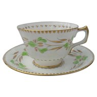 Vintage HM Sutherland Delicate Green and Gold Teacup and Saucer