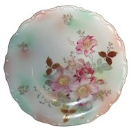 Romantic Hand Painted Schumann Bavaria Wild Pink/Burgundy Roses Serving Plate