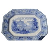 Antique Blue and White TJ & J Mayer Staffordshire Florentine Meat Platter 15 3/4""