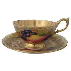Aynsley Orchard Gold Gilt Teacup and Saucer Signed Jones