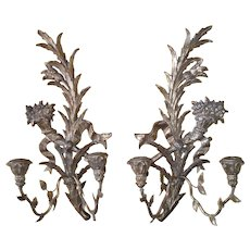 Exquisite FRENCH Pair of Carved Gold Giltwood Candleabra Wall Sconce