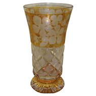 Vintage Bohemian Amber Etched Glass Beaker