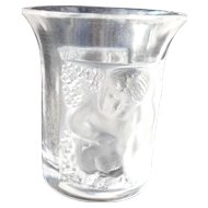 Vintage Lalique Les Enfants Shot Liqueur Vodka Glass Signed Frosted and Clear