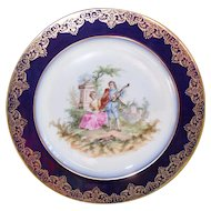 Lovely Elite Works Limoges French Cabinet Plate Man Serenading Woman Guitar