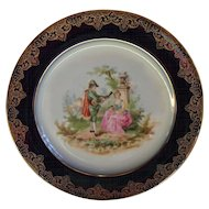 Lovely Elite Works Limoges French Cabinet Plate Man Serenading Woman in Garden with Guitar