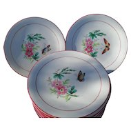 Twelve Handpainted Lotus Flower Butterfly Porcelain Dessert Plates