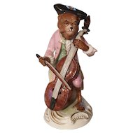Exquisite Vintage Scheibe Alsbach Germany Monkey Band Bass Player Figurine