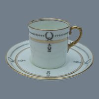 Aynsley Gold and Black Demitasse Cup and Saucer A2860