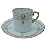 Elegant Aynsley Art Nouveau Gold and Black Demitasse Cup and Saucer A2860