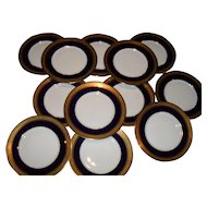 12 Classic Elegant Hutschenreuther Hohenberg Bavaria Gold Encrusted Cobalt Dinner Plates CMHR