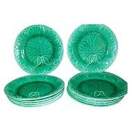 Rare Set of 12 Wedgwood Antique Green Leaf and Basketweave Majolica Plates