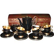 Stunning Art Deco Okura Josephine 24k Gold Black Tea/Coffee/Chocolate Set 1154
