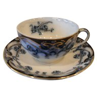 Art Nouveau Royal Staffordshire Burslem Iris Flow Blue Teacup and Saucer