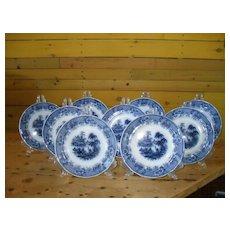 9 Antique W & E Corn Flow Blue Burmese Pattern Plates 1891