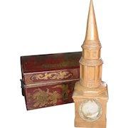 One of a Kind Vintage Pine Church Steeple Pocketwatch Holder Hutch