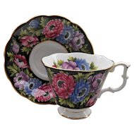 Royal Albert Bouquet Series Purple Pink and Blue Anemone Teacup and Saucer
