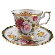 Elizabethan Pink Burgundy Yellow Rose Teacup and Saucer