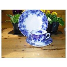 "Early Flow Blue Thomas Till & Son England ""Navy"" Teacup Saucer Plate Trio 1891"