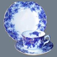 "Flow Blue Till & Son England ""Navy"" Teacup Saucer Plate Trio 1891"