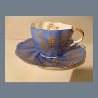 Exquisite Staffordshire Blue and Gold Teacup and Saucer