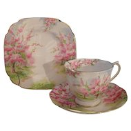 Vintage Royal Albert Pink Blossom Time Teacup Saucer Plate Trio 1936