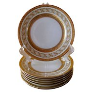 Eight Gold Encrusted Rosenthal Selb Bavaria Plates for Ovington Bros New York 9 1/4""