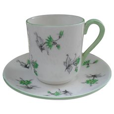 Miniature Shelley Green Charm 13862 Teacup/Saucer