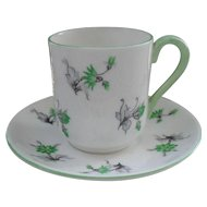 Vintage Miniature Shelley Green Charm 13862 Teacup/Saucer Canterbury