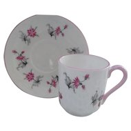 Miniature Shelley Pink Charm 13849 Teacup/Saucer Canterbury