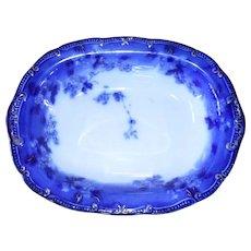 "Gorgeous Early Ridgway Lugano Flow Blue Open Vegetable Dish 9 3/4"""
