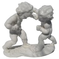 Hutschenreuther Karl Tutter Figurine Pair of Cherubs Putti Boxing 1930