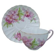 Pretty Shelley Ludlow Pink Orchid Teacup and Saucer 02422