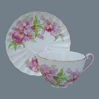 Shelley Ludlow Pink Orchid Teacup and Saucer 02422