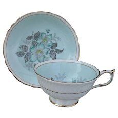 Vintage Paragon Turquoise Floral Aqua Gold Teacup and Saucer