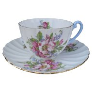 Vintage Shelley Ludlow Pink Wild Roses Teacup and Saucer 02428