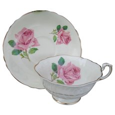Paragon Quatrefoil Pink Cabbage Roses Teacup and Saucer