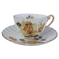 Vintage Shelley Ludlow Yellow Roses Teacup and Saucer 2501