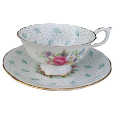 Paragon Polka Dot Turquoise Gold Cabinet Teacup and Saucer
