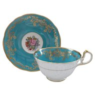 Vintage Aynsley Turquoise Teal Roses and Gold Teacup and Saucer Signed Bailey